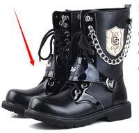 Men's boots trend medium-leg boots punk boots male boots plus size high-top shoes