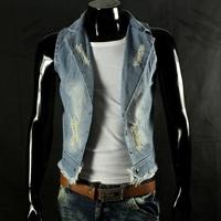 spring 2014 new fashion plus size denim vest men casual blazer collar sleeveless jackets coats vintage cardigan waistcoat L-3XL