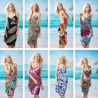 2014 Fashion Bohemia Sexy Bikini Swimwear Skirt Mantillas Beach Dress Spaghetti Strap Porcelain Open-Back Wrap Front Cover Up