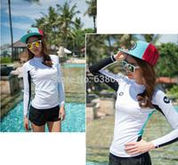 Sun Protection UPF 50+ Lycra Rash Guard White Wetsuit  Women Swimwear Surf , Windsurfing T-shirt Wetsuit Pants
