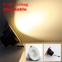 1X Dimmable COB LED Recessed for Ceiling 3w 5w 7w 9w  LED Ceiling Light Lamp with Warm/Cold White LED Down Light
