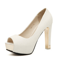 2014 women's sandals shoes star white open toe high heels talons round toe platform thick heel zapatos lady's pumps schuhe 6