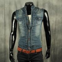 spring 2014 plus size cardigan denim vest male sleeveless jackets short outerwear slim stand collar brand a waistcoat M,L,XL,XXL