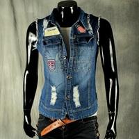 Hot 2014 men's clothing spring fashion denim vest male hole patchwork jacket coat cardigan a waistcoat sleeveless jackets M,L,XL