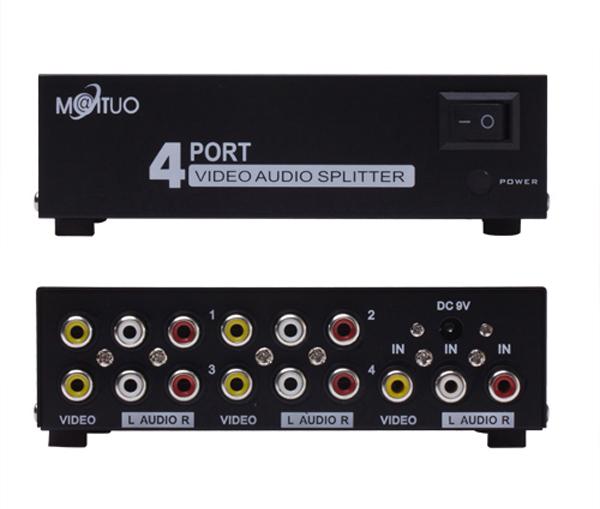4 Port 1 3 RCA AV Audio Video TV Box HDTV DVD PS3 Splitter Amplifier