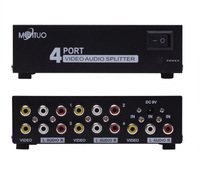 4 Port 1 In 4 Out 3 RCA AV Audio Video TV Box HDTV DVD PS3 Splitter Amplifier