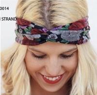 2014 fashion bohemian soft comfortable cotton floral fabric crossing  headbands fower printed women yoga headband  12cm