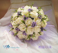 Free shipping , New arrival Romantic holding flowers 30 Wedding Colorful Bride 's Bouquet,red pink blue and purple