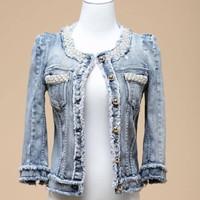 female jacket 2014 fashion plus size women clothing denim jacket pearl diamond round collar cardigan coats jeans jacket women