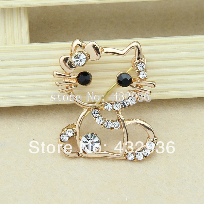 factory direct sales New Arrival gold silver cute rhinestone cat brooch hot sell brooch Smooth brooch(China (Mainland))