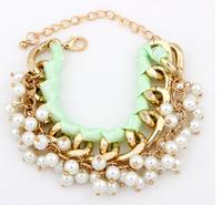 Elegent Faux Pearl Woven Chain Bracelet New Fashion Statement Bracelet Lovely Gift cxt906124