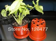 Simple plastic flower pot, double color flower pot, plastic flower POTS (soft, very thin) - 10 pcs(China (Mainland))
