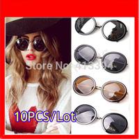 Hotsale Fashion High Quality Unisex Retro Round Silver Gold Metal Frame Vintage Sunglasses