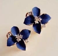Min order is $10(mix order) camellia oil rhinestone navy blue stud earring clip earrings flower shape women earring EH558