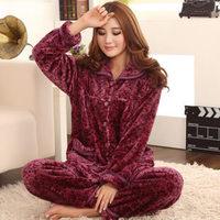 Autumn and winter thickening coral fleece flannel sleepwear plus size women's quinquagenarian lounge set xxxxl