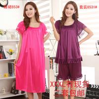 Free Shipping Viscose women's plus size short-sleeve set summer sexy nightgown extra large Bust 132cm lounge sleepwear dress