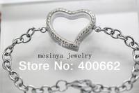 10pcs expensive magnet authentic bling sparkle czech crystal floating charm  living magnet glass curved heart locket bracelet