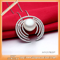 super luxury silver  pendant with chains handcrafted micropave setting 150PCS AAA grade cz with big natural freshwater pearl