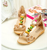 2014 bohemia knitted jade beaded sandals slip-resistant rubber sole wedges sandals female