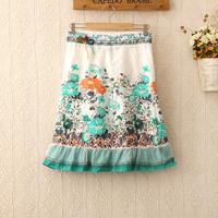 419 WOMEN bohemian HIGH WAISTED SAIA embroidery PLEATED SWING SKIRT decorative knee-length skirts