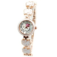 Lovely Hello Kitty Bracelet Women Dress Watches Fashion New Style Wristwatch Delicate Gift Clock for Girls,Full Steel Band N028