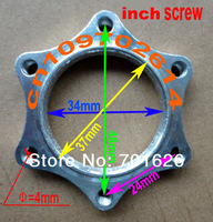 Aluminum INCH SCREW threaded disc brake rotor adaptor with six hole mounting pattern on bicycle bike scooter ATV