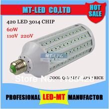 Retail 10%discount 60W Ultra bright Led corn light E27 B22 E14 3014 420led lamps AC110-240V Ultra bright spotlight Free Shipping(China (Mainland))
