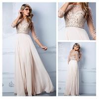 Free Shipping!! Cheap crystal scoop chiffon prom gown women summer dress 2014 sexy A-Line cap sleeve  evening dress custom made
