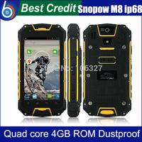 In stock black Snopow M8 IP68 MTK6589 quad core PTT Walkietalkie andriod 4.2 smartphone 4.5 inch 1gb ram 4gb rom gps in stock