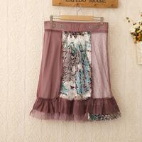 427 Hot-selling 2014 female skirts High waist skirt Women Fashion Neon Flower Lace Cover Short Skirt Pleated knee length skirt