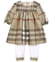 Retail fashion new 2014 baby & kids clothing set Long sleeve plaid girl dres+leggings 2pcs baby clothing baby girl conjuntos