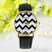 Casual Unisex Woman Man Stripes Faux Leather Analog Quartz Wrist Watch Hot Sale 1O35