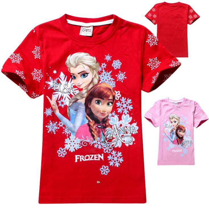 Meninas vestir,Teenage girls fashion fantasia elsa Anna frozen girl t shirt,Retail all for children's clothing and accessories(China (Mainland))