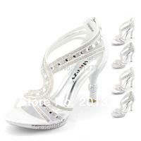 SHOEZY Unique 2014  Ladies Silver White Strappy Dimante Platform Pumps Wedding Evening Party Dress Ankle Strap High Heels Shoes