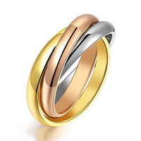 2014 Fashion Unisex Three Color, Gold Silver And Rose Gold Plated Ring For Women and Men  Wholesale