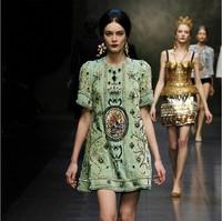 Hot Sale!High Quality Runway 2014 New Fashion Design women's Vintage digital print luxury beaded Plus size XXXL dress H040620