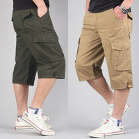 Fashion mens Cotton Summer Plus size fat multi pockets outdoor work cargo shorts long Capri for men 5XL 6XL 7XL 8XL 36 38 40