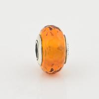 Authentic 925 Silver Core White Six Facted Murano Glass Beads, The Original Jewellers Hallmark JPF001-24