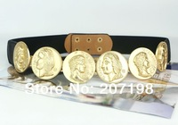 Gold tone metal belt coin queen dress belt  black elastic for women 2014 fashion (6 coins)