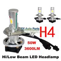 5Set 2014 Newest CREE CXA1512 LED Car Headlight 50W H4 Bi-xenon LED Head Lamp H4 Hi/Lo Beam LED Car SUV Headlamp Kit 12V/24V