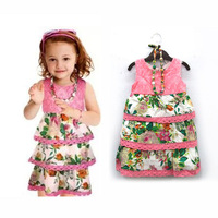 2014 newest catimini summer children clothing girls sleeveless Sling dress flowers brand high quality fashion 2-8T.3 shipping