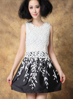High street hydrotropic lace women summer dress crochet embroidery leaf celebrity one-piece dress black and white vestidos