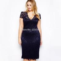 2014 New Fashion Sexy Women Midi Bodycon Dress V-Neck Floral Lace Slim Pencil Dress Knee-Length Dark Blue  Plus Size M-XXXL 365