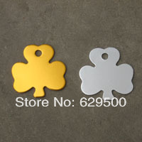 Hot Sale Mixed Colors Shamrock 32*32mm Pet ID Tag Dog Name Tags Animal Address Cards Aluminum Alloy Tags free shipping