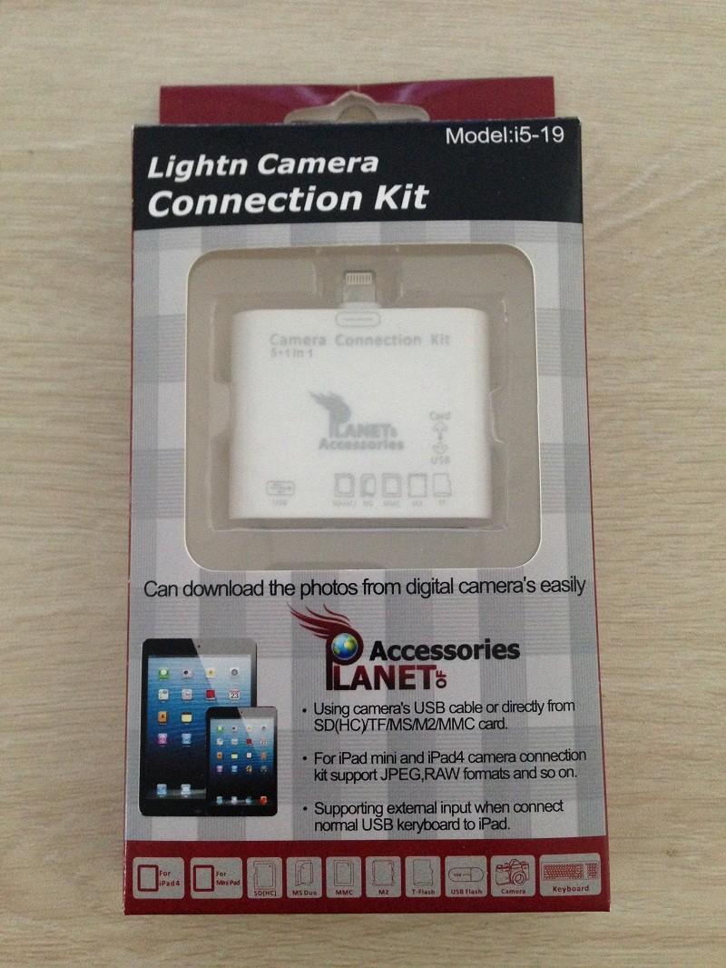 New USB2.0 Support iOS8 5+1 1 Lighting Camera Connection Kit Card Reader iPad6/iPad air 2/iPad Mini 2/ipad 5 4