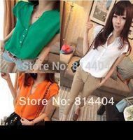 New 2014 Fashion Women summer Imitated Silk Short Sleeve shirt top Solid Color Chiffon Blouse womens free shipping