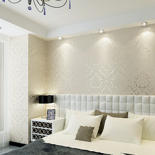Bedroom Wall Coverings 2017: European Style Wall Covering Non Woven Wallpaper Flock