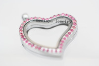 10pcs best quality heart full pink crystal glass locket for floating charms