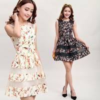 2014 New Fashion Spring Summer Slim Floral Dress Cotton Size S M L XL Sleeveless Cute Women Clothing