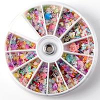 Nail Art Tips 1200pcs Wheel Mixed Glitters Rhinestones